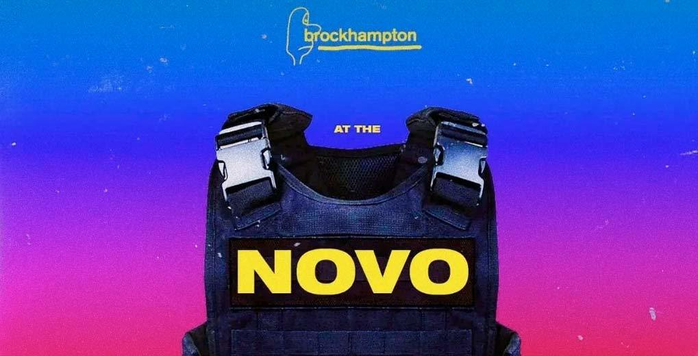 Brockhampton at the novo promotion image with artist logo and bullet proof vest