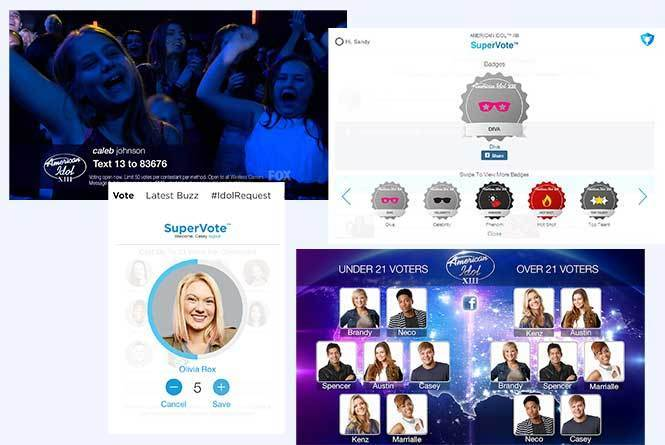 layout on how to vote on supervote with page of contestants with under and over 21 voters