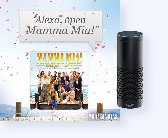 Image of soundtrack with Alexa and prompt to open the skill