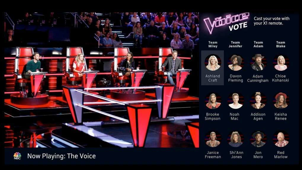 The Voice judges in chairs and online voting page