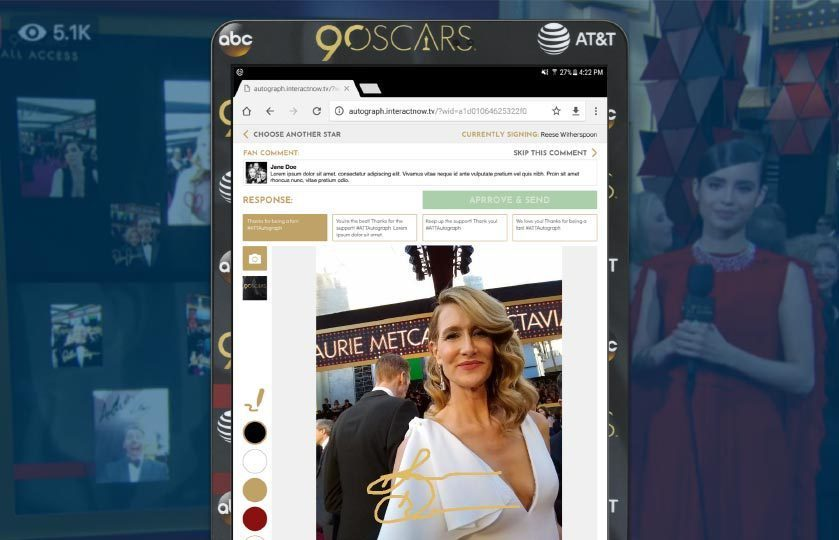 Autograph Application with Laura Dern's autograph and background image of other autographed images