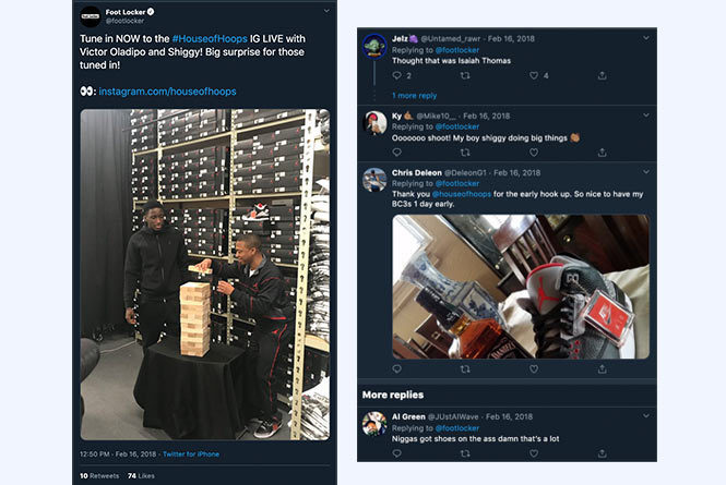 Social posts and conversations with images of men playing jenga and basketball shoes