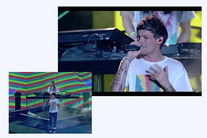 Steve Aoki and Louis Tomlinson on stage and closeup of Louis
