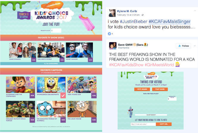 Main vote accordion page with various categories and nominees.  Tweets with votes and confirmation vote screen.