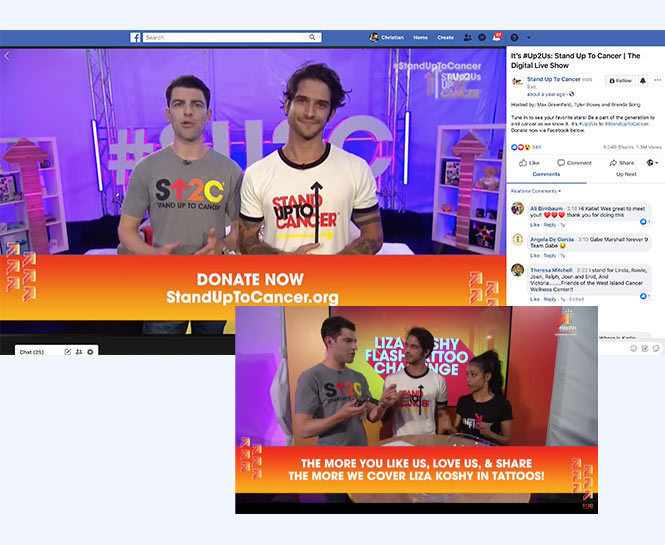 Stand up to cancer live stream with donation graphic