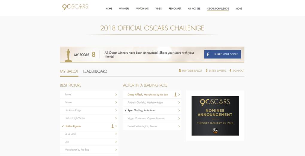 Oscar Challenge Ballot landing page