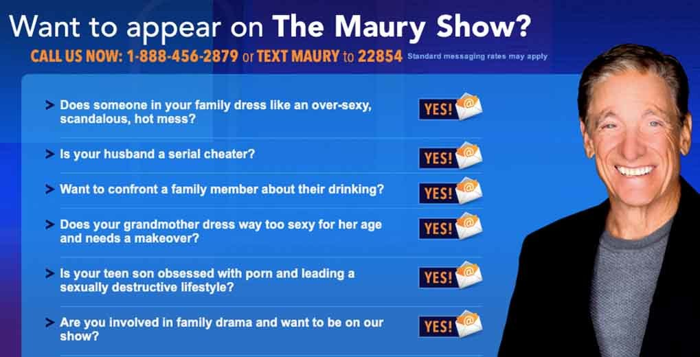 Instructions on why and how to text in to Maury Show to be a guest on the show
