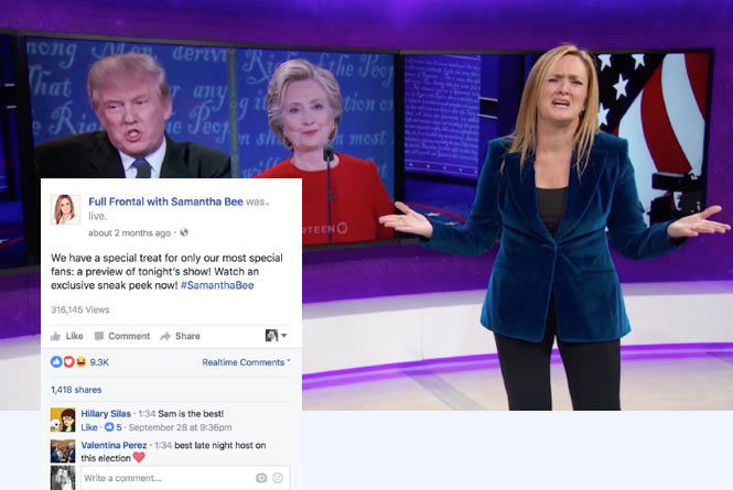 FB live stream of Samantha Bee Full Frontal with FB comments