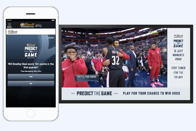 Mobile phone with Predict the Game app question and Basketball broadcast with CTA to play