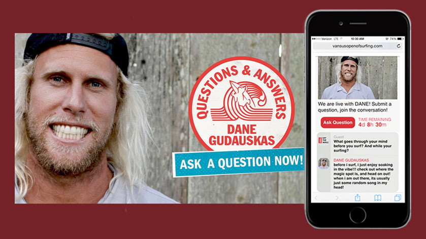 Promotion for Sociable Q&A with Dane Gudauskas and mobile view of sociable q&a with question and answer