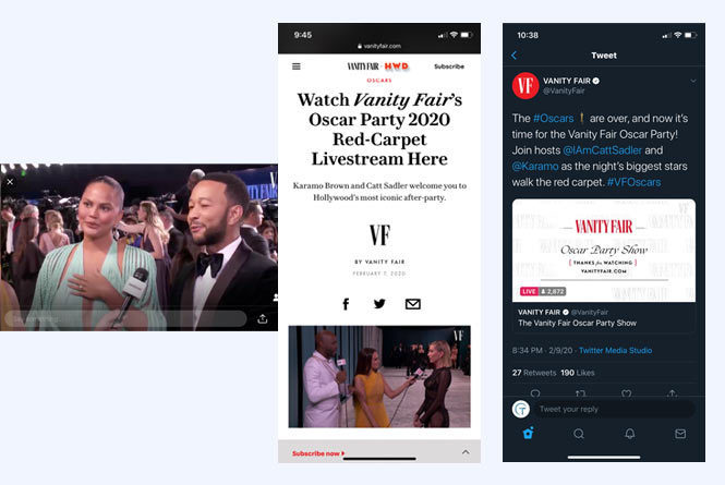 Chrissy Teigen and John Legend being interviewed on the carpet, the live stream inside the vf.com site and the stream inside the Twitter site.
