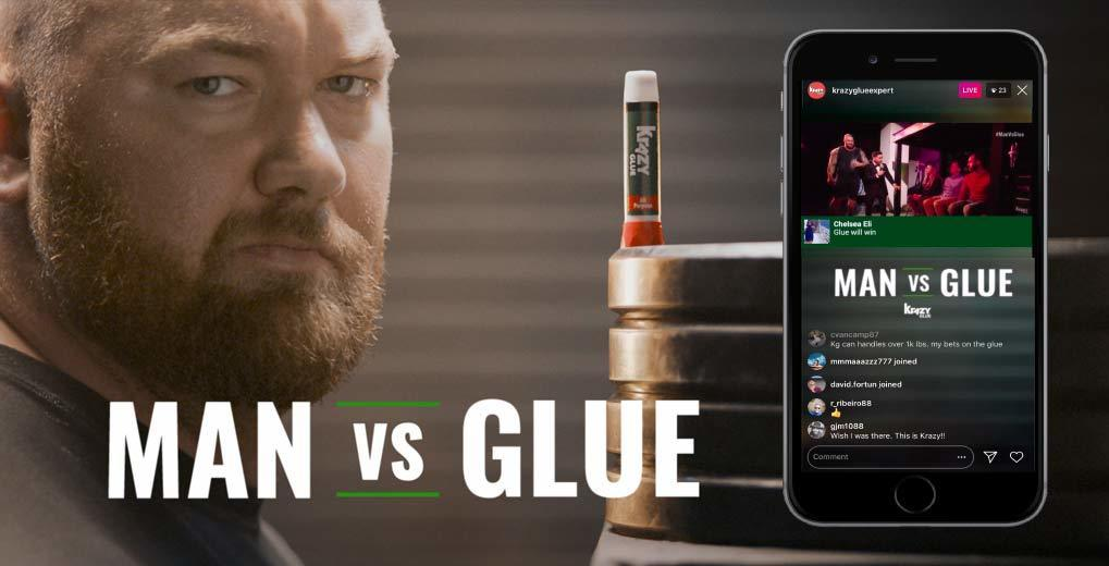 Man vs. Glue promotion image and stream inside a smartphone