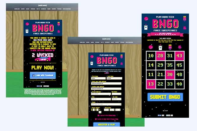 Bingo login, sweepstakes and play along card