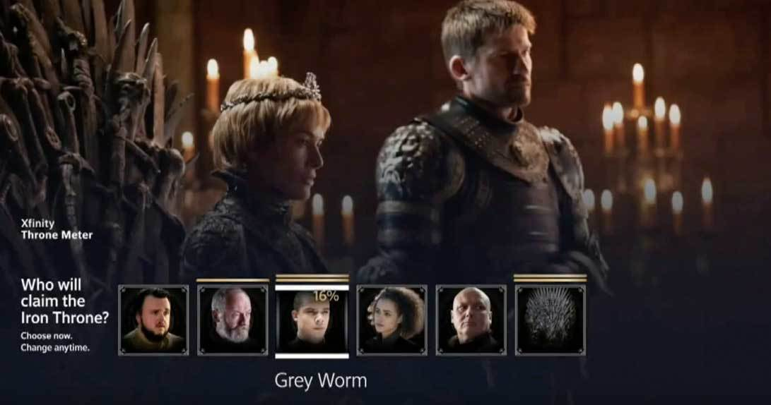 Poll displaying Grey Worm with 16 percent of poll