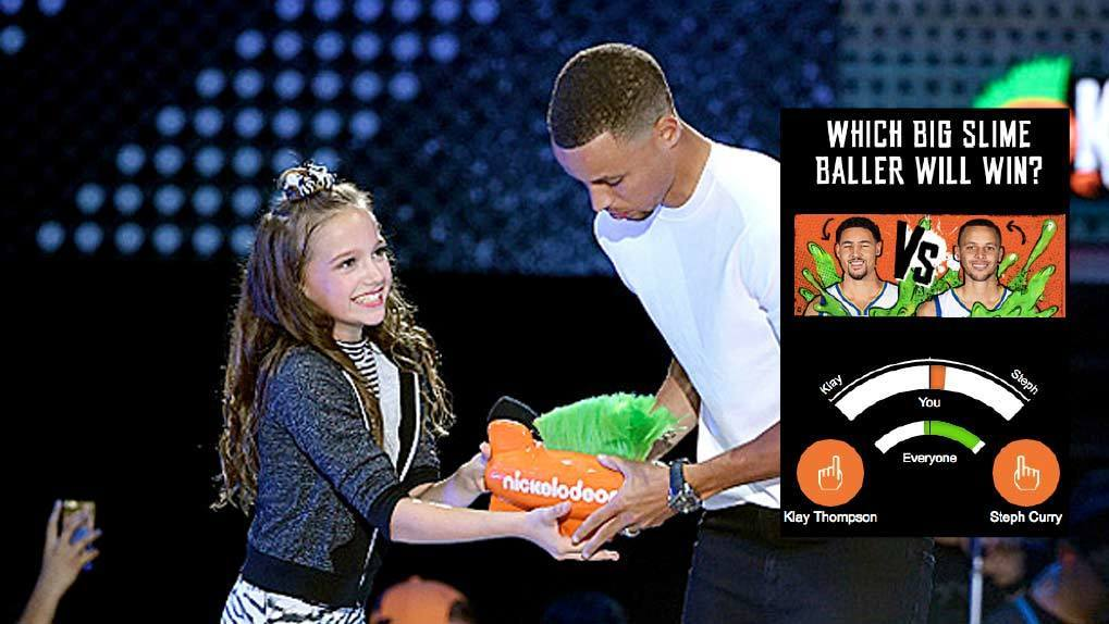 Young girl giving Nick award to Steph Curry with overlay of interactive voting meter