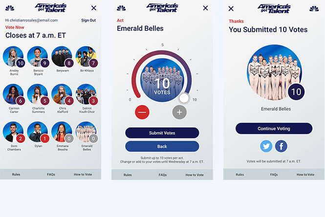 Mobile view of 3 AGT voting pages: landing page, vote selection and vote submission