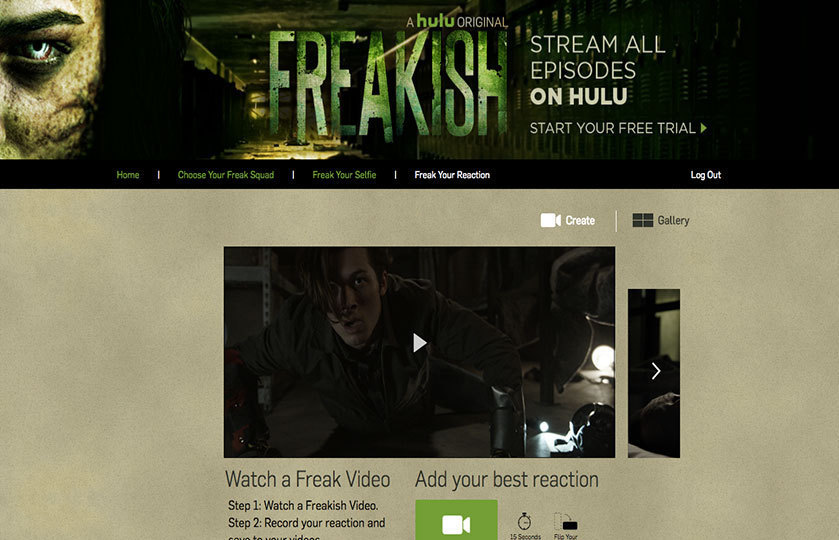 Hulu freakish website where Video Reaction is shown