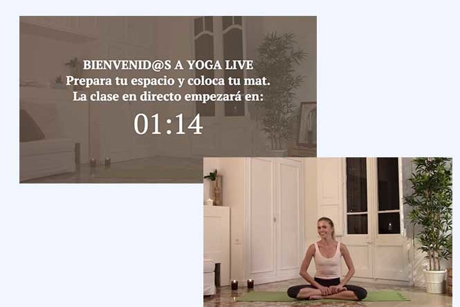 Countdown timer to FB live stream and actress sitting on yoga mat