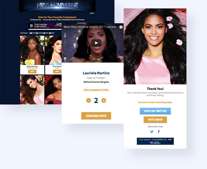 Screenshot of online vote with two additional screenshots of the contestant vote modal and thanks for voting modal
