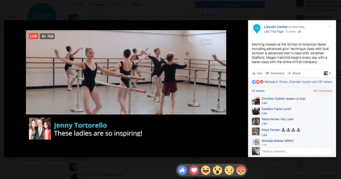 Live stream ballet class with dancers at barre and FB comments
