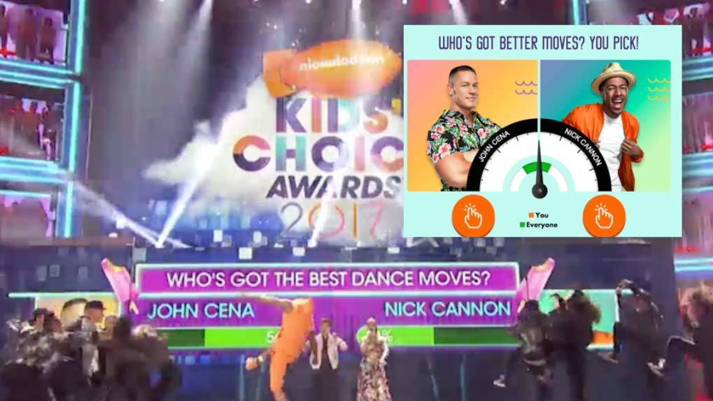 """Passion Meter product in screen with on air question """"Who's got better dance moves? John Cena or Nick Cannon?"""