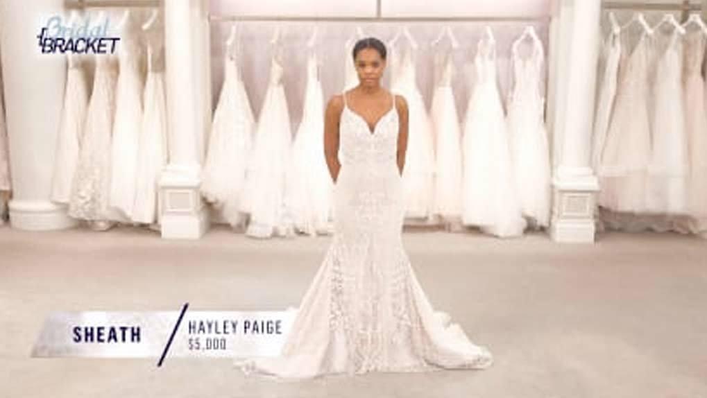 Model wearing Sheath wedding dress