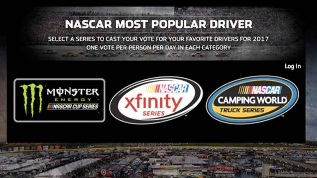 NASCAR Most Popular Driver Series landing page