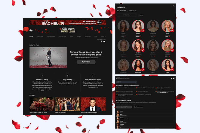 Bachelor Fantasy League game desktop view of game with options to select contestants and choose scenarios