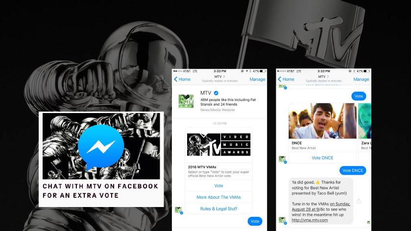 MTV VMAs messenger vote with contestant carousel