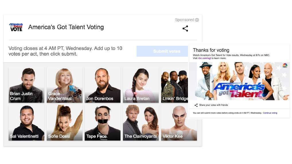 AGT Google vote page