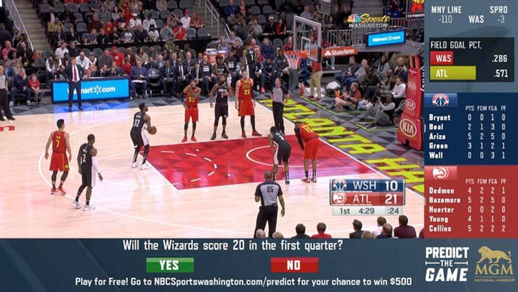 In-app view of basketball game with questions and answers