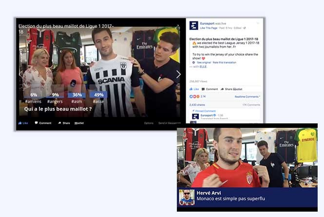 FB live stream of guys modeling soccer jerseys and on-screen graphics with poll answers and comments