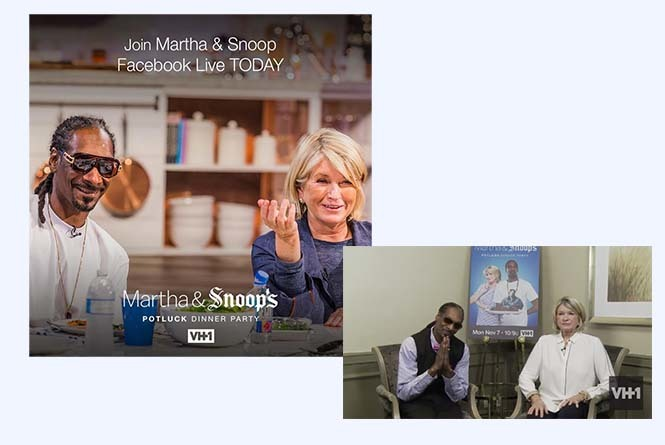 Promo of Snoop Dogg and Martha sitting and smiling and live stream of Snoop and Martha sitting next to each other