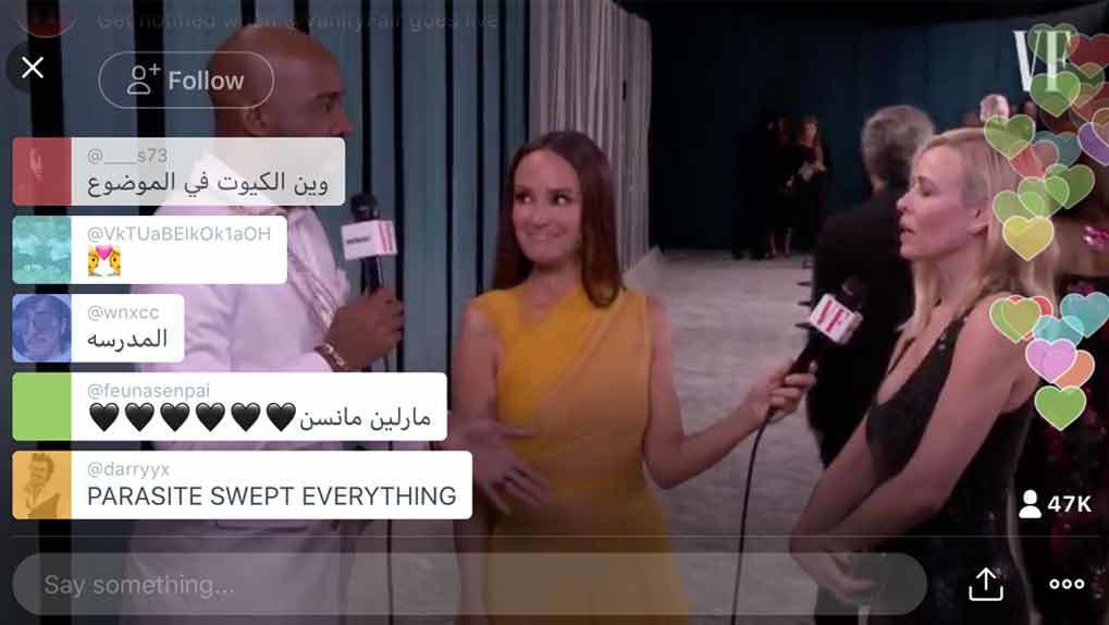 Karamo Brown and Catt Sadler speaking with Chelsea Handler with Twitter hearts and comments to air overlaid