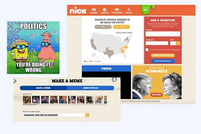 Meme generator and Spongebob meme, online social hub for Kids Pick The President