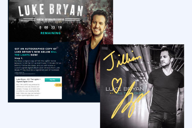 Webpage of Luke Bryan with CTA to get digital autograph - Luke Bryan album with personalized autograph