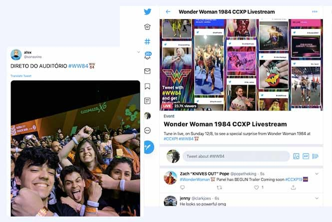 Fan tweets and content in live stream