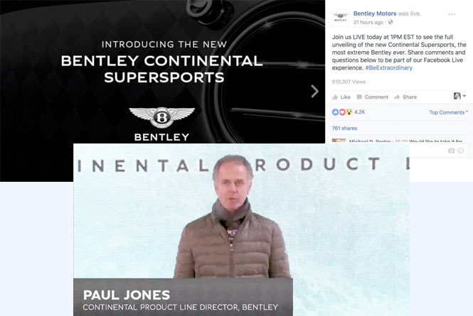 Images of live stream including Paul Jones speaking to the audience
