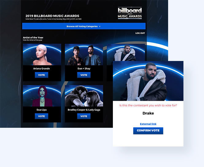 Billboard Awards category vote
