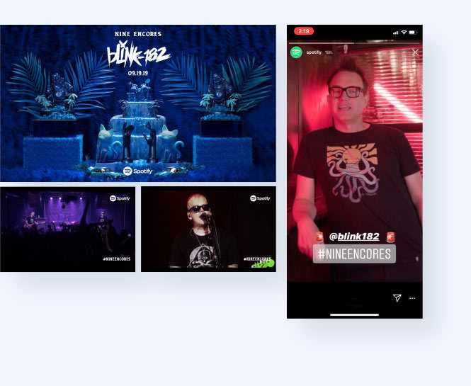 Screenshots of Blink 182 and Spotify live stream and lead singer promoting live stream