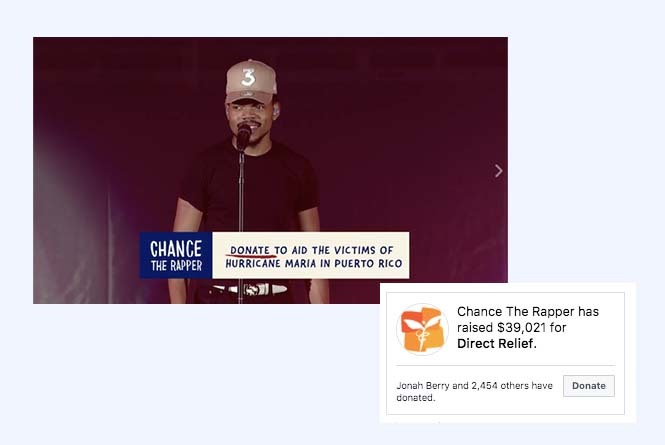 Chance the Rapper stream with CTA graphic to donate