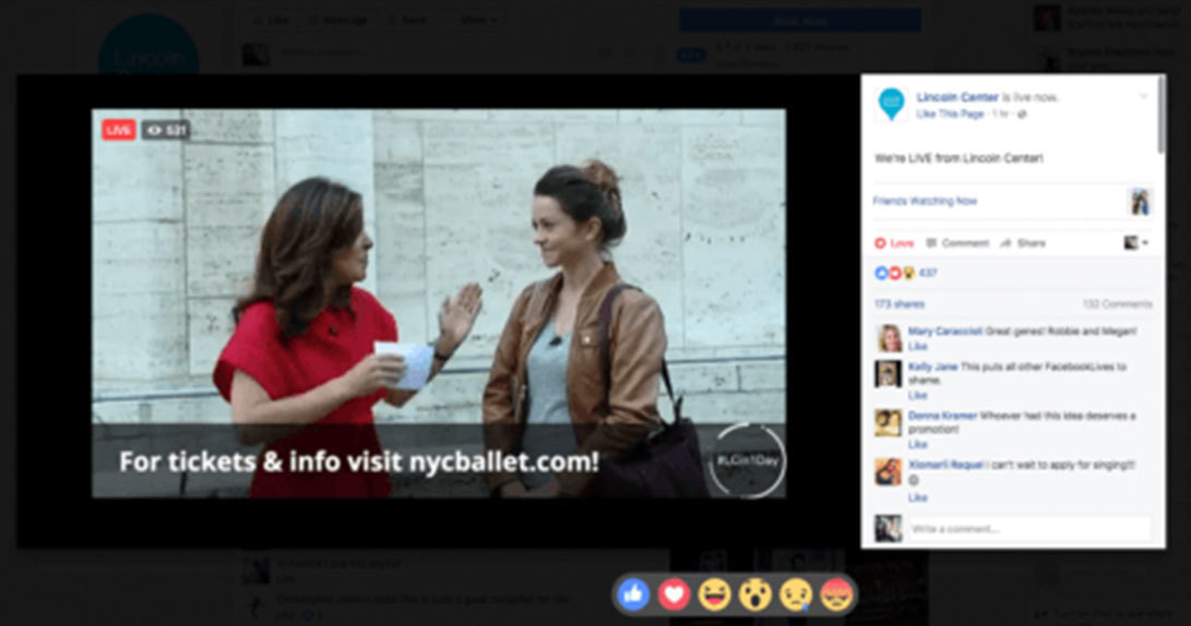 Live stream of two women talking with graphic CTA