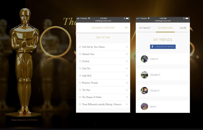 Oscars Predictor application with leaderboard