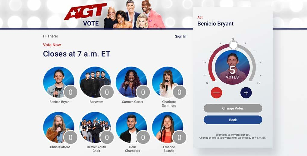 America's Got Talent online voting page with desktop and mobile view