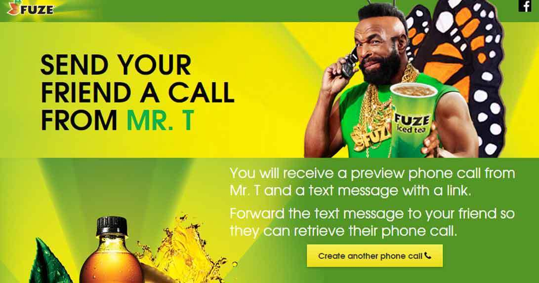 Online landing page with Mr. T holding phone and Fuze tea