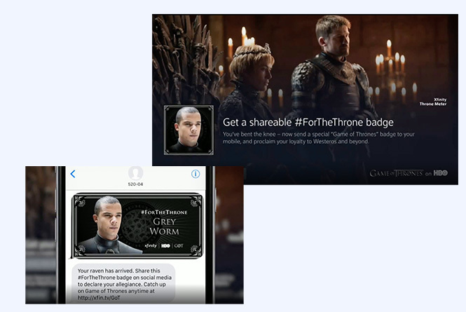 Game of Thrones sharable badge and texted badge image