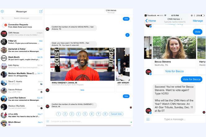 CNN Heroes FB messenger vote screen in desktop and mobile views
