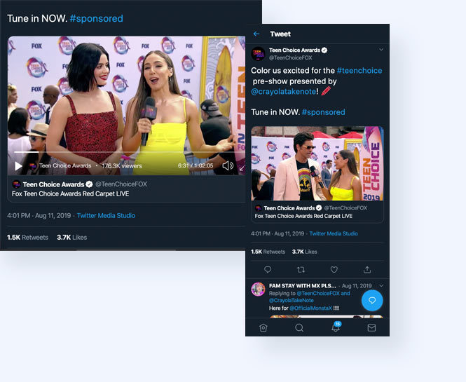 Teen Choice Twitter live stream with host and Lucy Hale and John Stamos on the red carpet
