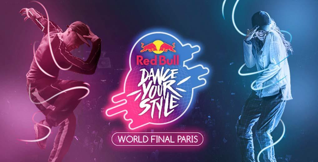 Red Bull Dance Your Style Logo centered between two dancers that are neon blue and neon pink