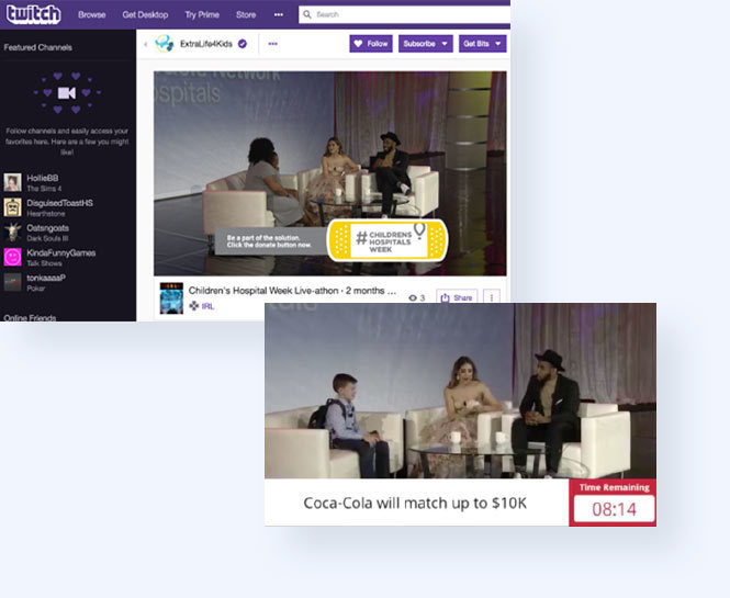 Children's Miracle network live stream on twitch with on-air graphics and countdowns